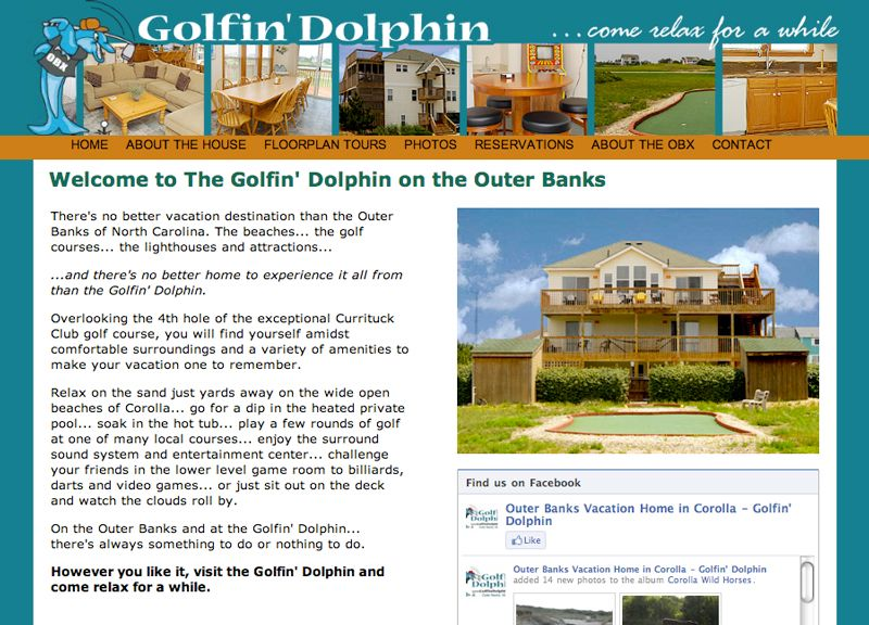 Golfin' Dolphin Vacation Rental Home Website