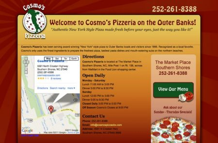 Cosmo's Pizzeria Website